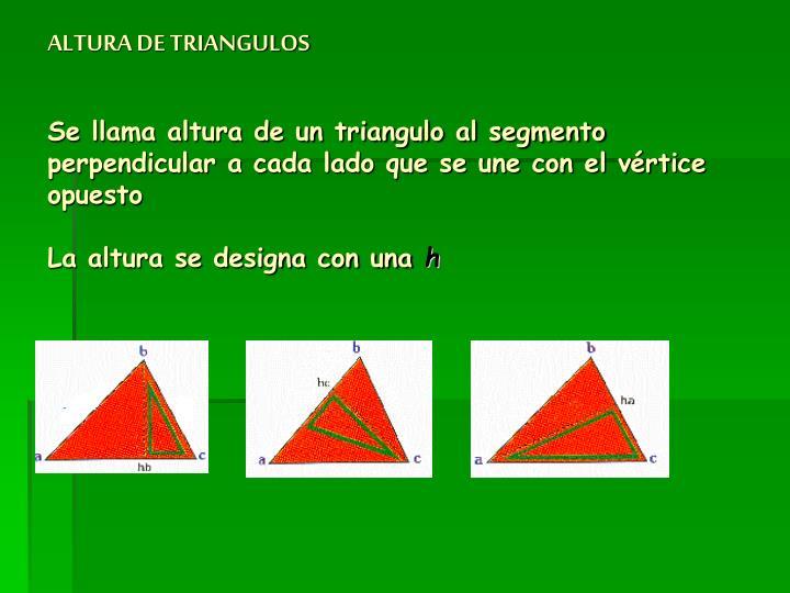 ALTURA DE TRIANGULOS