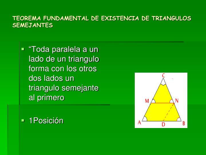 TEOREMA FUNDAMENTAL DE EXISTENCIA DE TRIANGULOS SEMEJANTES