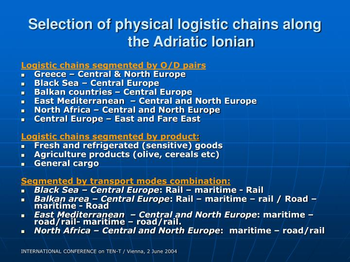 Selection of physical logistic chains along the Adriatic Ionian