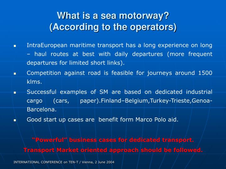 What is a sea motorway?