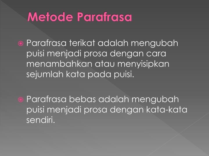 Metode Parafrasa