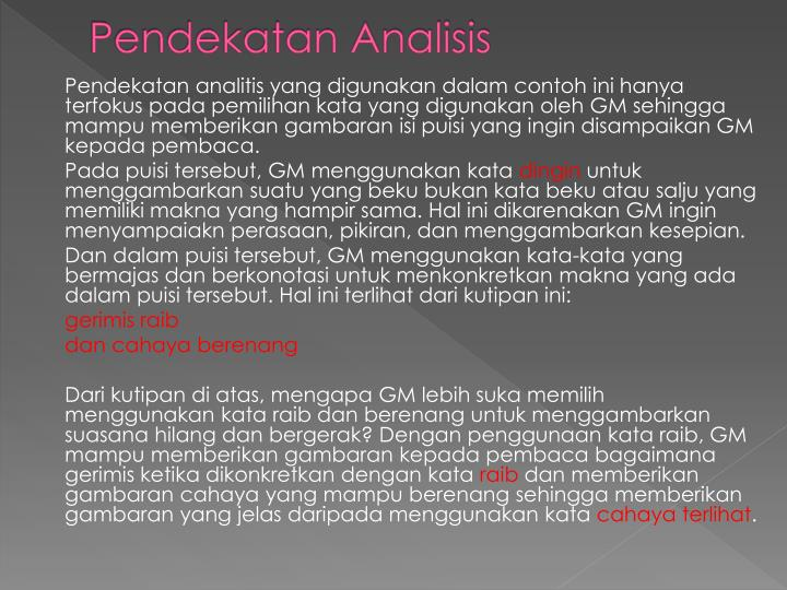 Pendekatan Analisis