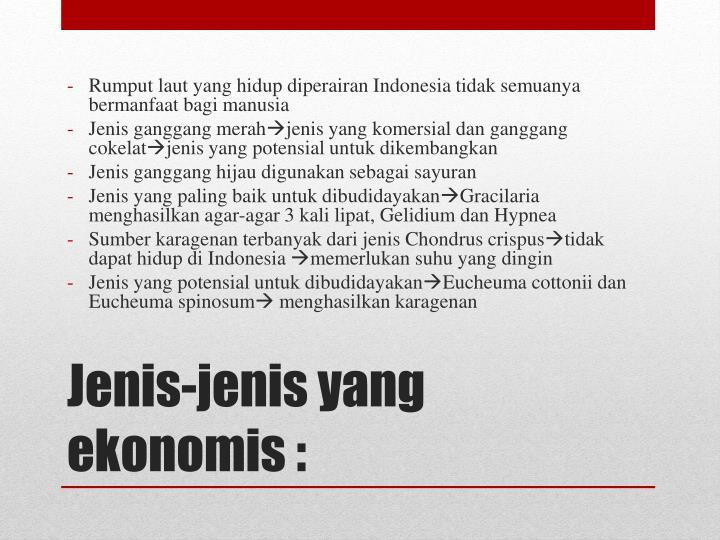 Rumput laut yang hidup diperairan Indonesia tidak semuanya bermanfaat bagi manusia