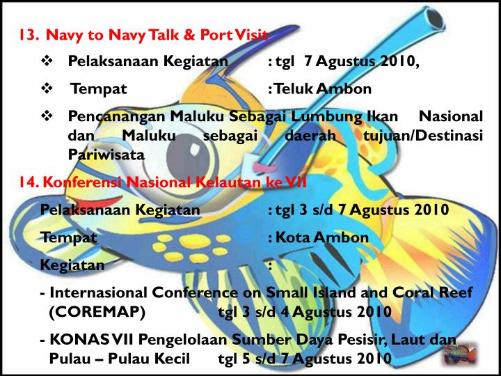 13.Navy to Navy Talk & Port Visit