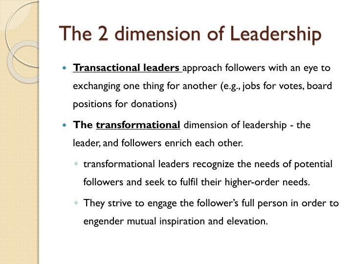 The 2 dimension of Leadership