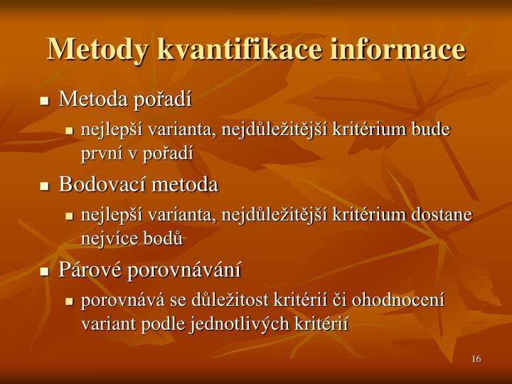 Metody kvantifikace informace