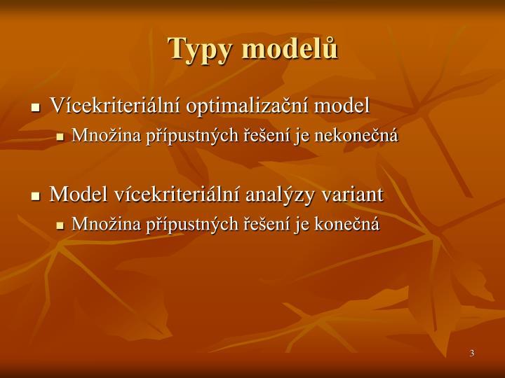 Typy modelů