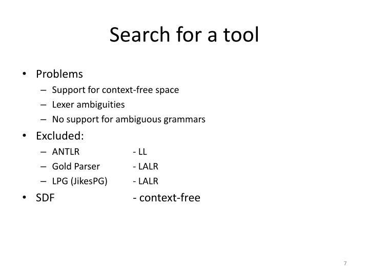 Search for a tool