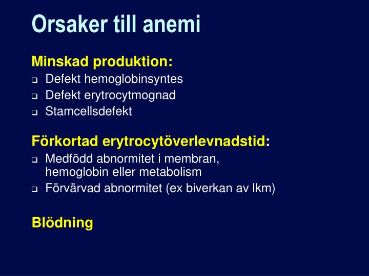 Orsaker till anemi