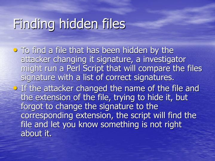 Finding hidden files