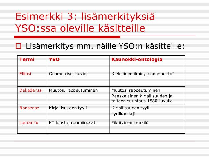 Esimerkki 3: lisämerkityksiä YSO:ssa oleville käsitteille