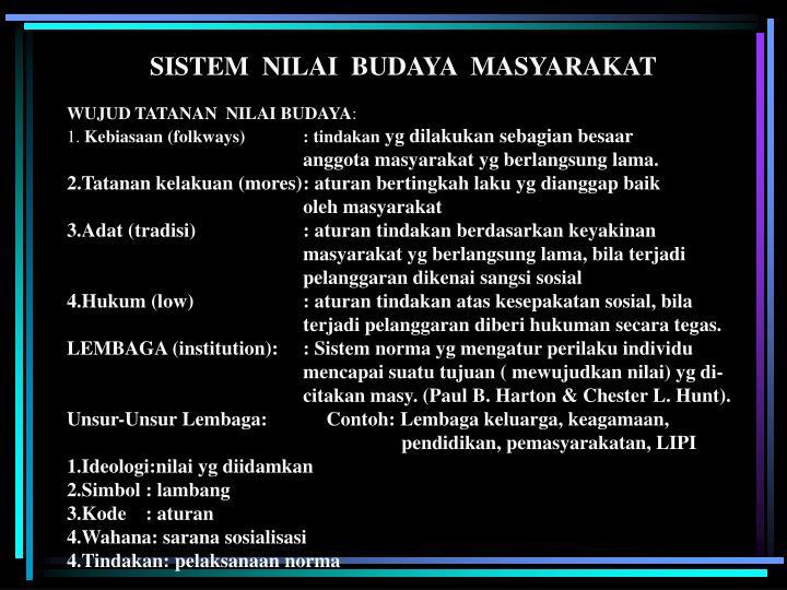 SISTEM  NILAI  BUDAYA  MASYARAKAT