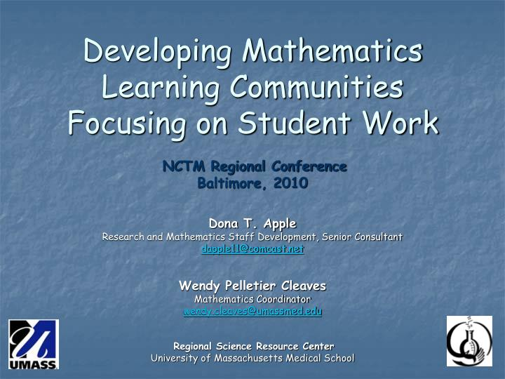 Developing Mathematics