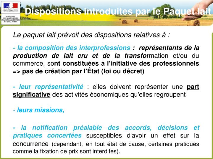 Dispositions introduites par le Paquet lait