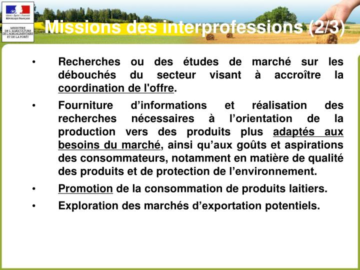 Missions des interprofessions (2/3)