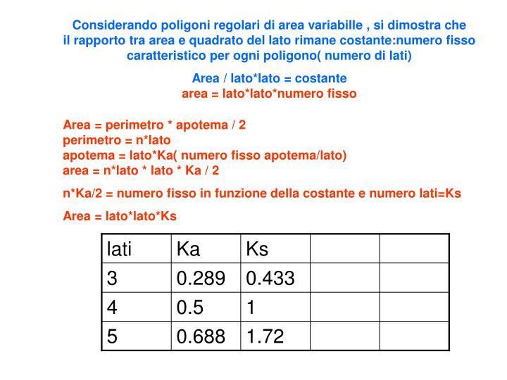 Considerando poligoni regolari di area variabille , si dimostra che