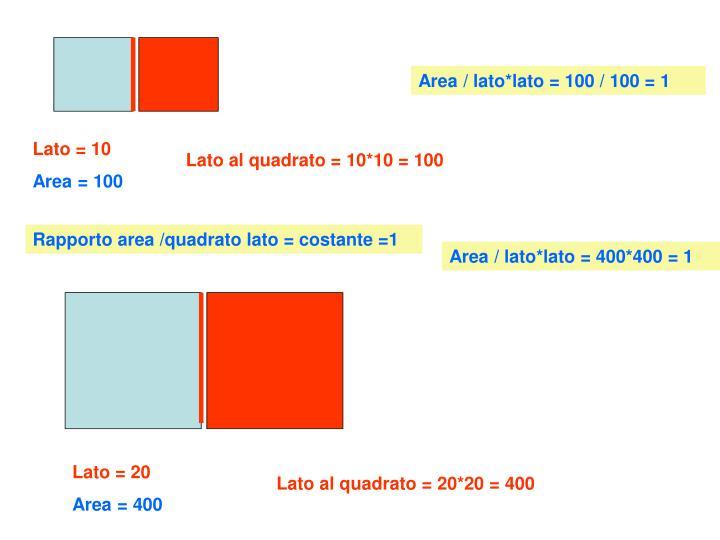 Area / lato*lato = 100 / 100 = 1