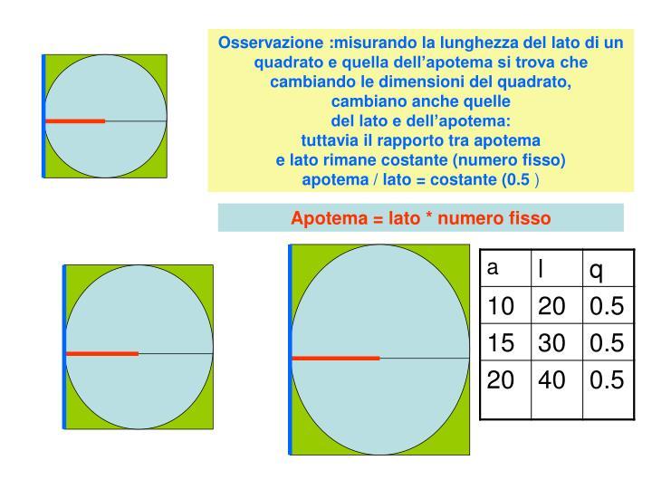 Osservazione :misurando la lunghezza del lato di un