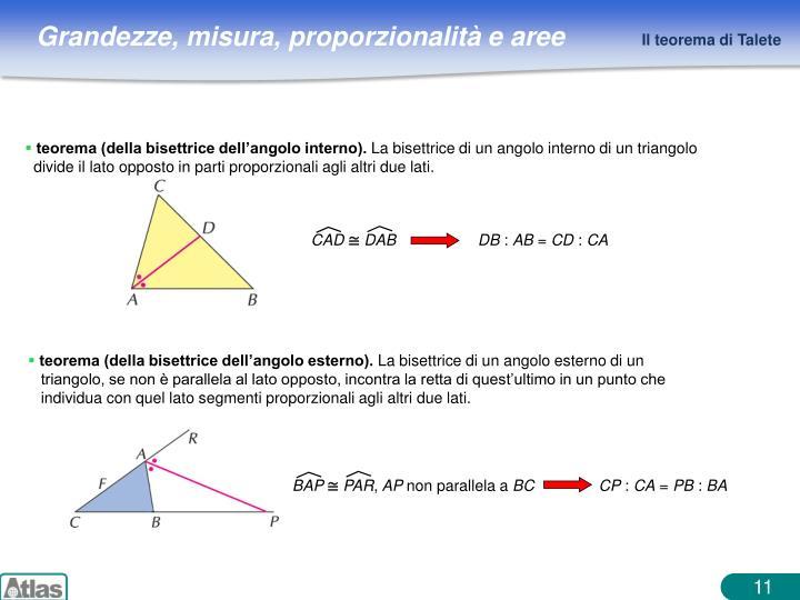 teorema (della bisettrice dell'angolo interno).