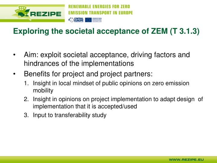 Exploring the societal acceptance of ZEM (T 3.1.3)