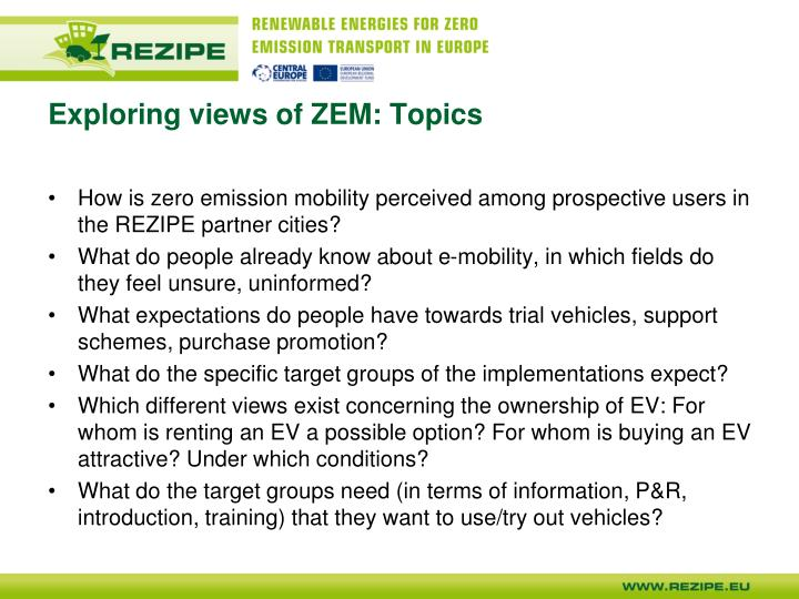 Exploring views of ZEM: Topics