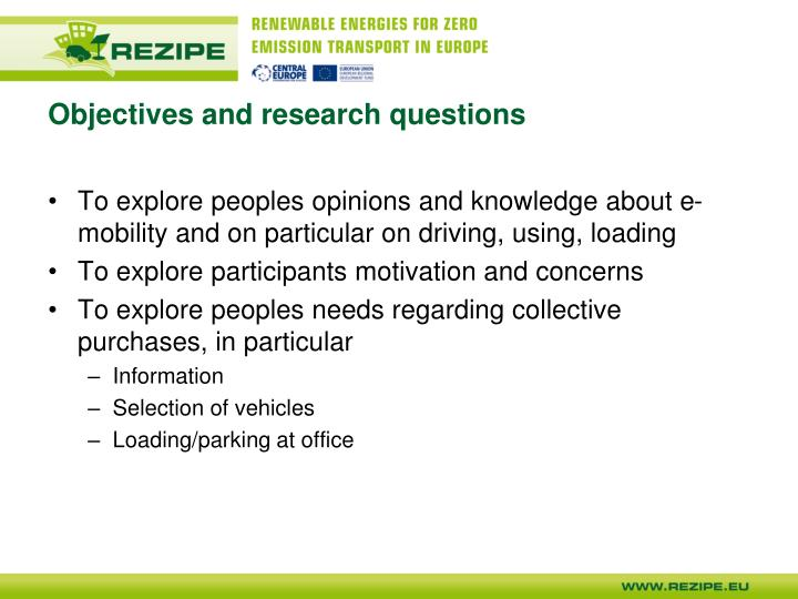 Objectives and research questions