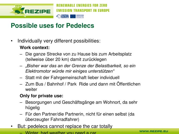 Possible uses for Pedelecs