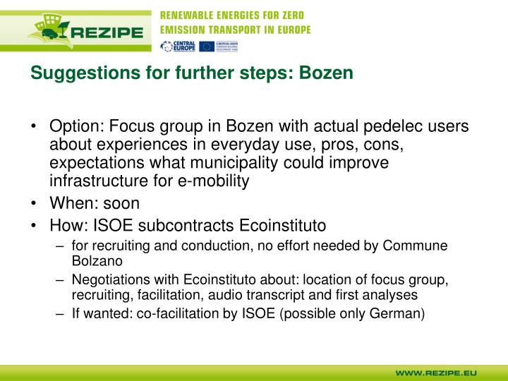 Suggestions for further steps: Bozen