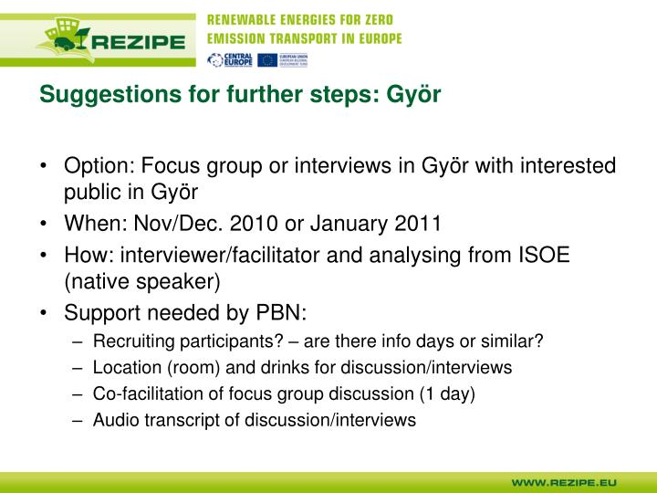 Suggestions for further steps: Györ