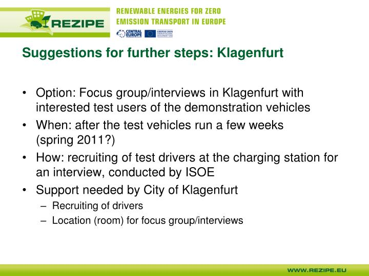 Suggestions for further steps: Klagenfurt