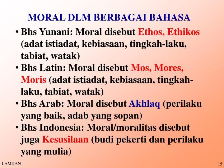 MORAL DLM BERBAGAI BAHASA