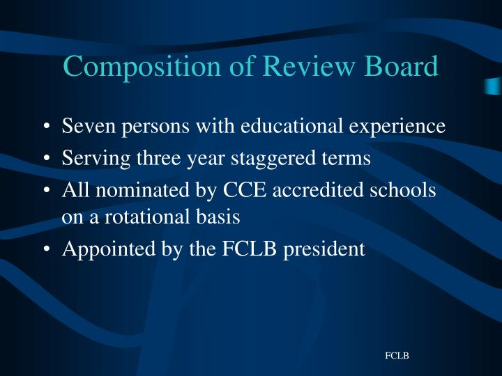 Composition of Review Board
