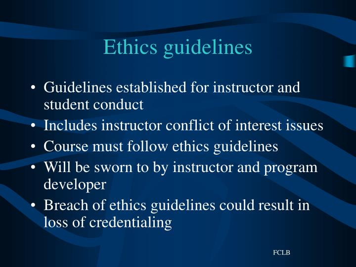 Ethics guidelines