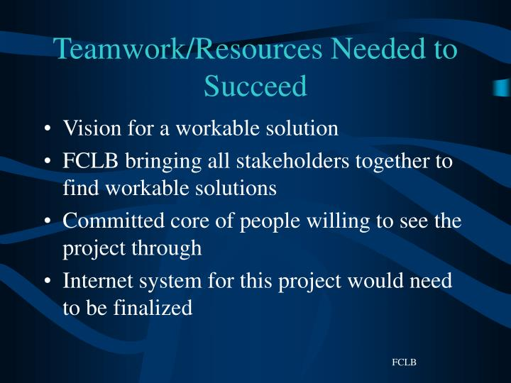Teamwork/Resources Needed to Succeed