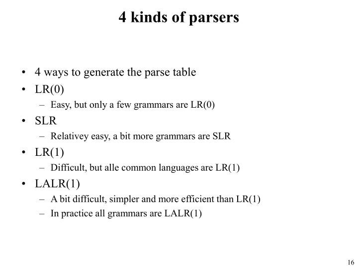 4 kinds of parsers