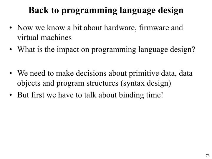 Back to programming language design