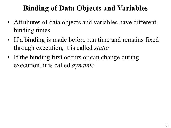 Binding of Data Objects and Variables
