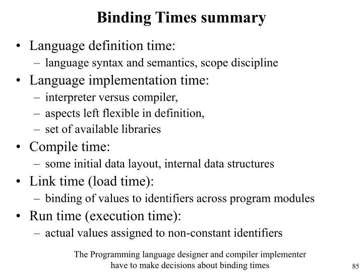 Binding Times summary