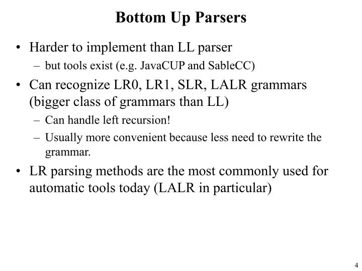 Bottom Up Parsers
