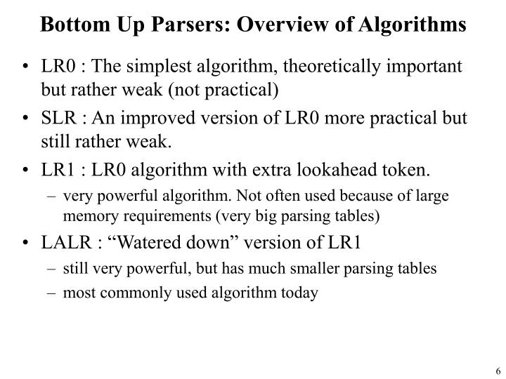 Bottom Up Parsers: Overview of Algorithms