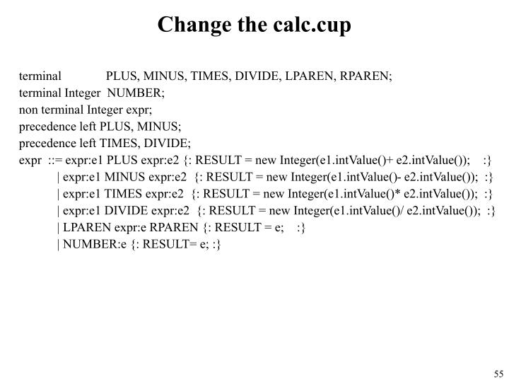 Change the calc.cup