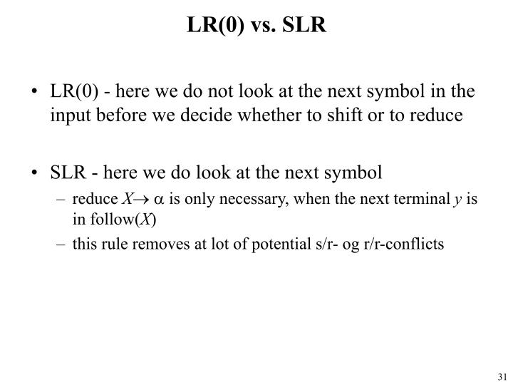 LR(0) vs. SLR