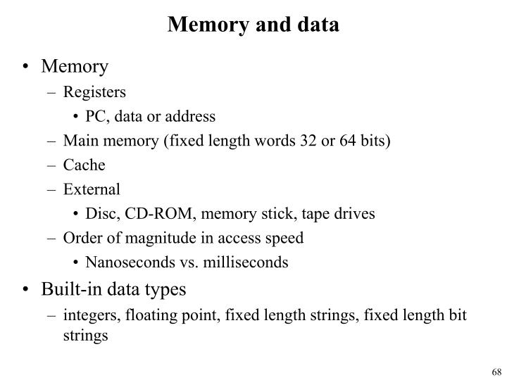 Memory and data