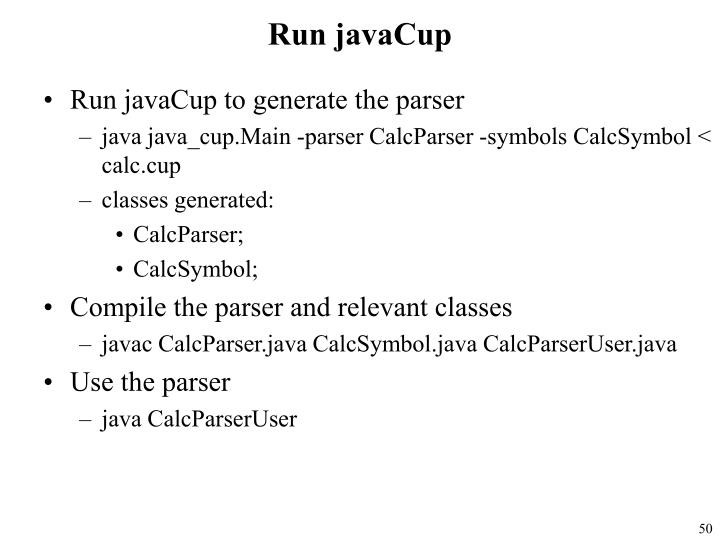 Run javaCup