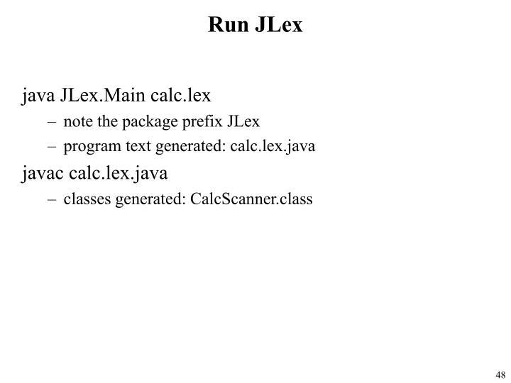 Run JLex