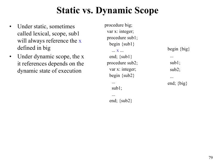 Under static, sometimes called lexical, scope, sub1 will always reference the