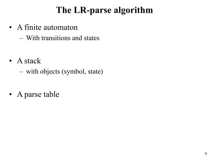 The LR-parse algorithm