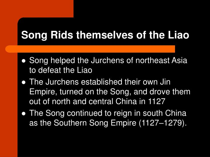Song Rids themselves of the Liao