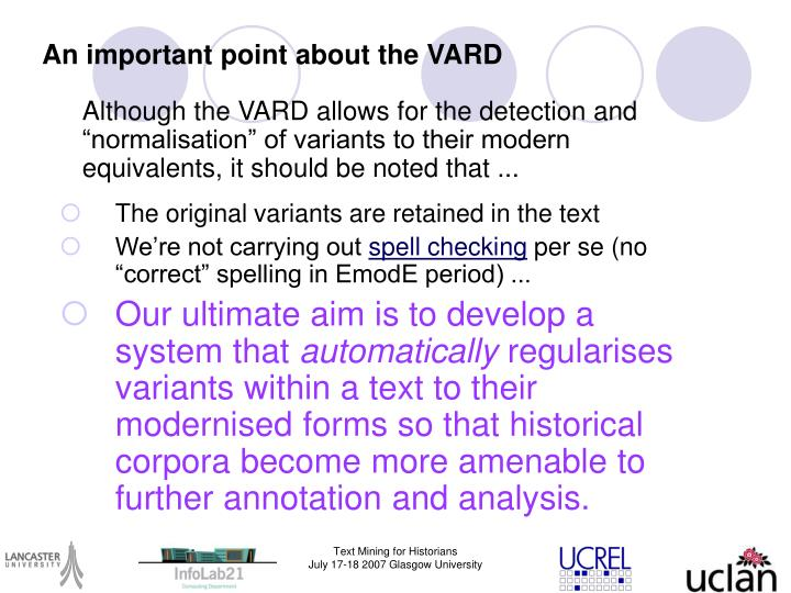 An important point about the VARD
