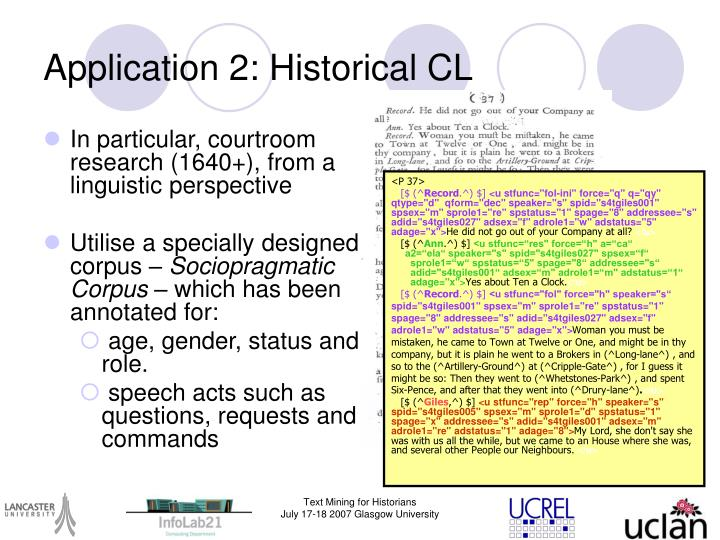 In particular, courtroom research (1640+), from a linguistic perspective